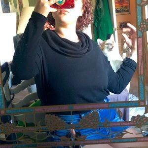 Black knit cowl neck tee